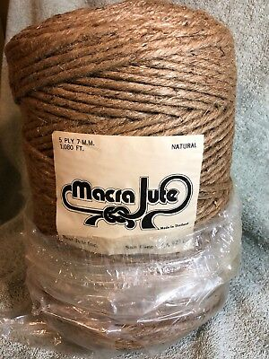 "1080"" 5 Ply 7mm Thick Natural Jute Twine Cord Roll~Garden Macrame Hemp Crafts"