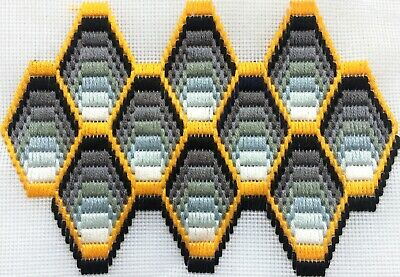 Bargello Needlepoint Longstitch Honeycomb Cell Greys Yellow Black Embroidery Art