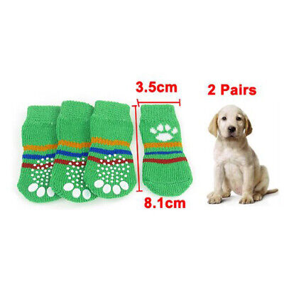 Green Size M Paw Pattern Nonslip Stretchy Knitted Pet Dog Puppy Socks 4 Pcs J3S3