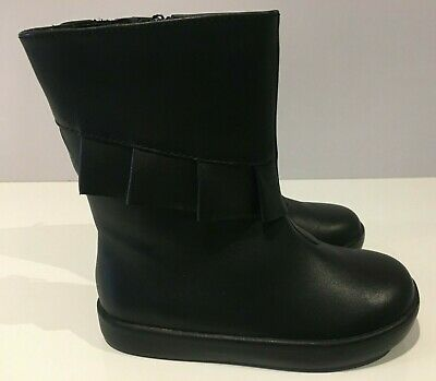 M&S Girls Black Leather Boots with Frill Detail UK5, 6, 7, 8, 10  RRP £30-£32