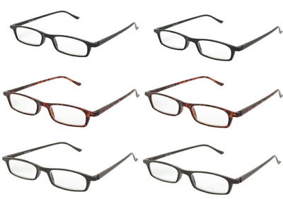Slim Reading Glasses Mens Reader 4 Pair Lot Quality Mix Strength Power Free Gift