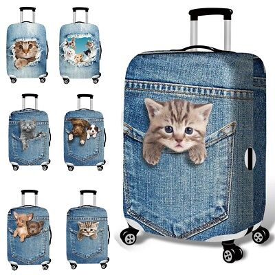 18-32'' 3D Cat Dog Elastic Luggage Trolley Case Cover Durable Suitcase Protector