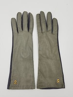 Beautiful Isotoner Aris Gray Leather Gloves w/ Military Accent. One Size.