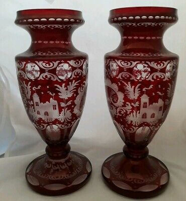 """Pair 9"""" Cut to Clear Ruby Red Glass Egermann Bohemian Vases Castles Stag & Swirl"""