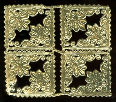 Scrap Die cut German Dresden Gold Foil Paper Decorative Corners Victorian Crafts
