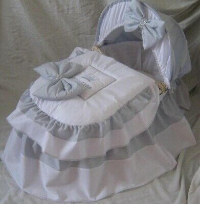 'princess'  Grey And White Moses Basket Cover Set By Babyfanzone