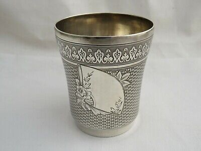 Fine Antique French Silver Beaker / Cup - Aesthetic Movement Design