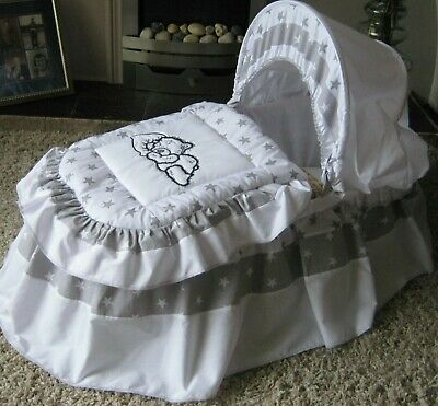 Starry Teddy Grey And White Moses Basket Cover Set By Babyfanzone