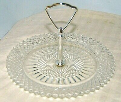 Vintage Miss America Clear Depression Glass Single Tier Tidbit Tray