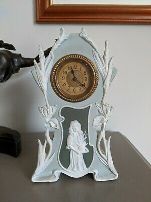 Ceramic jasperware Mantle Clock art nouveau style