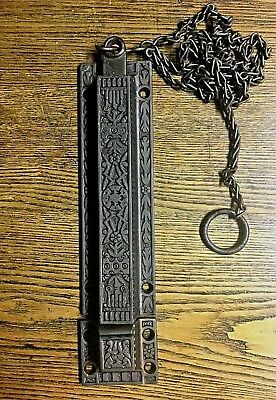 Large Antique Decorative Surface Mount Victorian Chain Door Bolt, c1880's