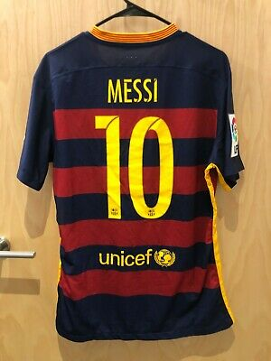 1acaef6e3e7 AUTHENTIC FC BARCELONA Messi #10 Jersey Home Kit 2015/2016 - Large ...