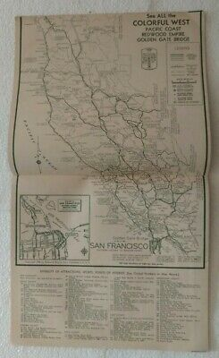 Calfornia Redwood Empire Attractions Booklet  Maps 1940's 1950's Travel Brochure