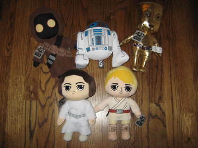 Star Wars 40th Anniversary Plush Sets of 5 - Exclusive- Jawa  Luke Leia R2-New!