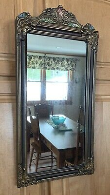 Antique Vintage Victorian Wall Mirror Picture Frame  Flowers Wood Old