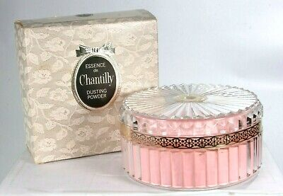 New Vintage Chantilly Dusting Powder 6 oz Boxed Clear Acrylic With Pink Puff