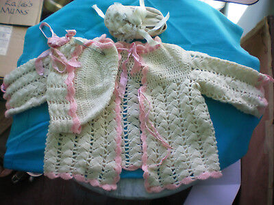 Knitted Baby Sweater with Cap & Vintage Baby Shoes
