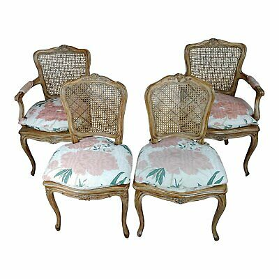 French Provincial carved Cane Armchairs & Chairs  -Set of 4