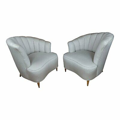 Art Deco Glamour Chairs w/Asymmetrical Shell Back-A pair