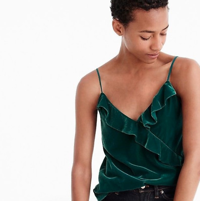 741ca4809a2e86 J.CREW NWT  68 Soft Velvet Party Blouse Ruffle Cami Top in Black Size 12