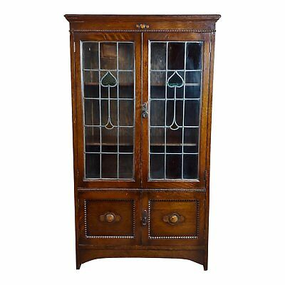 Antique Oak 2 doors Bookcase w/leaded Stained Glass Hearts-c.1900s