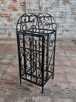 """Vintage 1930s Spanish Revival Wrought Iron""""Cage Shape""""Wine Rack"""
