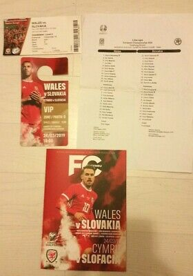 Wales v Slovakia European Qualifier 2018/19 Programme,Ticket Stub & Team Sheet