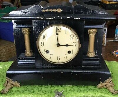 Vntage Waterbury Mantle Clock With Key And Pendulum Wood With Brass Accents