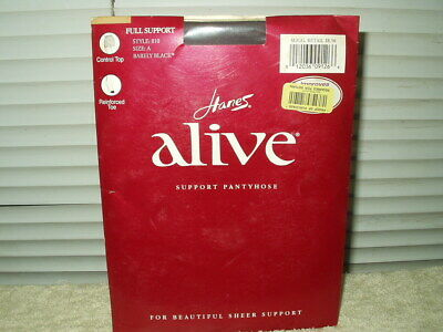 0d62511bb4b hanes alive pantyhose style 810 size A barely black 2 pairs full support  nylons