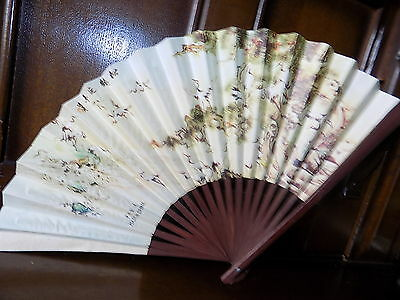 Collectable vintage oriental flying cranes print bamboo paper folding hand fan
