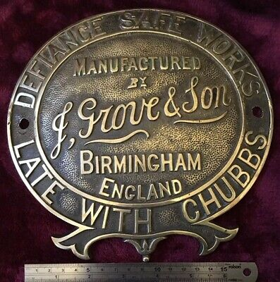 Genuine Antique/Vintage Large Cast Brass J Grove Safe Plaque/Plate/Badge