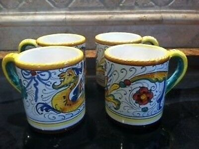 Deruta Majolica Italian Pottery- Raffaellesco - Set of 4 MUGS Coffee Cups