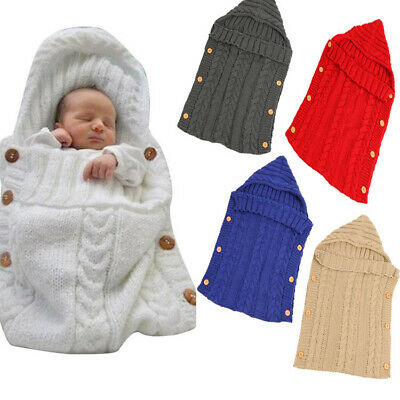 1X Hooded Swaddle Wrap Warm Knit Swaddling Blanket Sleeping Bag For Newborn Baby
