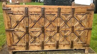 Antique Indian Wooden Settle Bench Seat Trunk Chest Storage