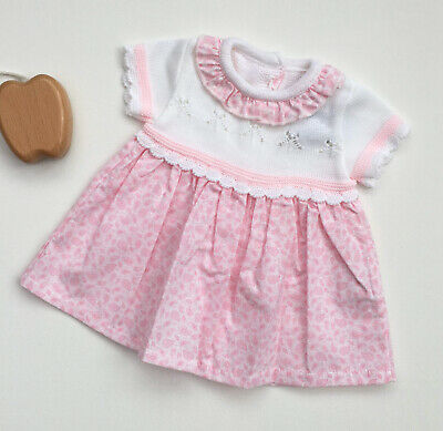 Baby Girl Pex 100/% Cotton Fine Knitted Spanish Romper Jam Pant White Pink NB-12M