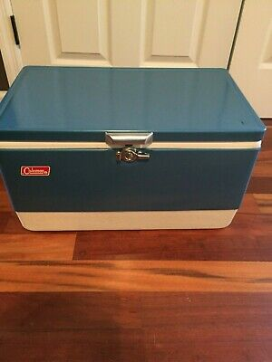 Coleman Cooler Blue Vintage Low-Boy Snow-lite Metal Cooler with Tray and Box