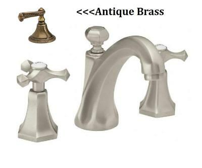 California Faucets Catalina 6302-AB Antique Brass Cross Handle Bathroom Faucet