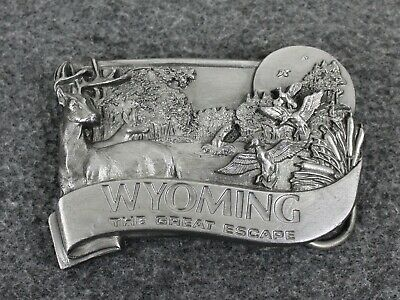 Vintage 80's 1984 Wyoming The Great Escape Bergamont Brass Works Belt Buckle