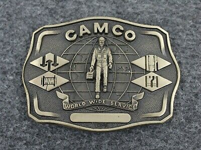Vintage Camco World Wide Service Solid Brass Great American Mint Belt Buckle
