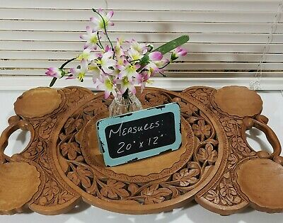 Vintage Antique Hand Carved Wood Leaves Serving Tray with Handles - Lightweight