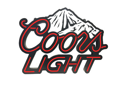 "28"" x 22"" COORS LIGHT WHITE Mountains NEON LED Sign BAR GARAGE MAN CAVE"