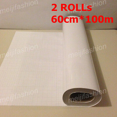 2 Rolls VINYL Sticker Clear Transfer Paper Cutter Cutting Plotter 60cm*100m
