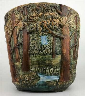 Antique WELLER POTTERY Forest Woodcraft Tree Scenic Jardiniere Pot Vase Planter