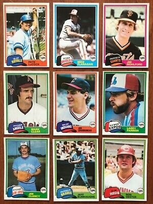 1981 TOPPS BASEBALL Pick your own Commons (20/$1.00) and Stars NM