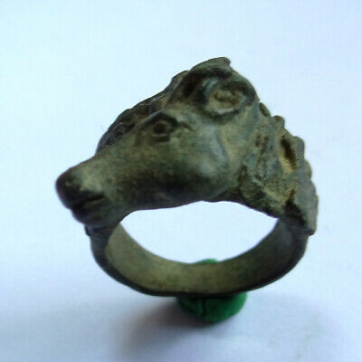 Medieval Ancient Artifact Bronze Hunting Ring With Deer And Oak Leaves