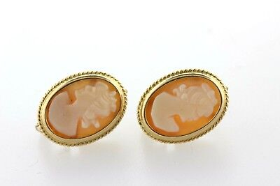 18K Yellow Gold Oval Rope Border Design Carved Lady Cameo Shell Earrings