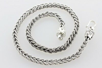 """Bali Indonesia Interlocking Woven 6mm Rope Hook Sterling Silver Necklace - 16"""""""