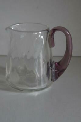 A Lovely Small Heavy Glass Jug With A Pale Purple Handle.