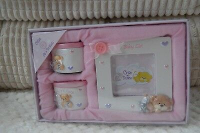 My First Tooth Curl Frame Gift Set Baby Girl Pink Christening Gift Present BNIB