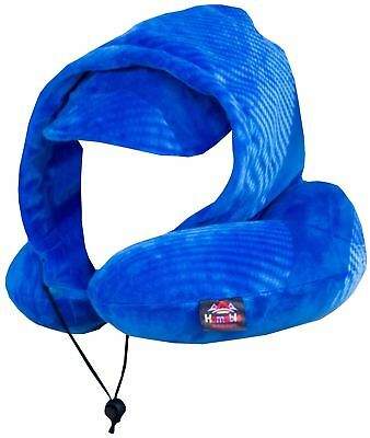 Inflatable Travel Neck Pillow With Hood Blue Homable